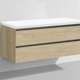 Badmeubel Trend met Flat kunstmarmer top 120 Light Wood
