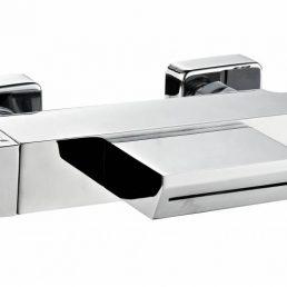 Thermostatische badmengkraan met waterval uitloop vierkant chroom