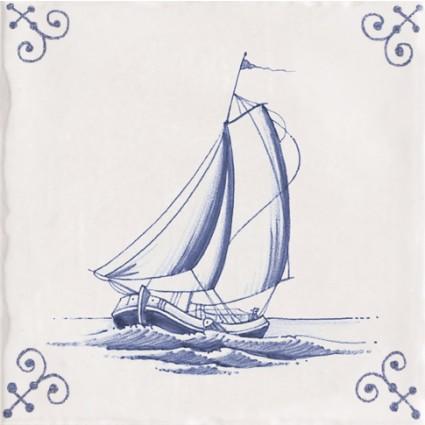 Delfts blauw Marina antiek Tegel 15x15 cm