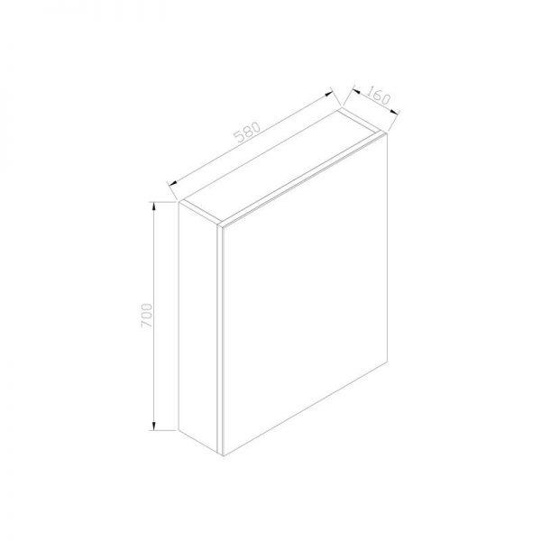 Spiegelkast zonder verlichting 58 wit