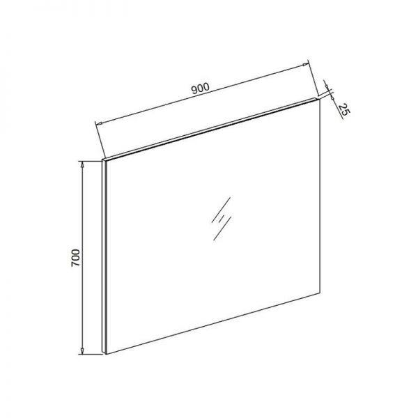 Standaard spiegel 90x70x2,5cm met spiegelverwarming