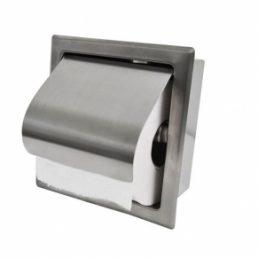 Wiesbaden Sunk inbouw toiletrolhouder met klep RVS