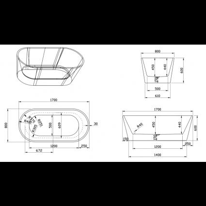 Design ligbad Teika 170 - Acryl