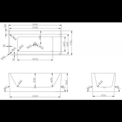 Design ligbad Vanga 160 - Acryl