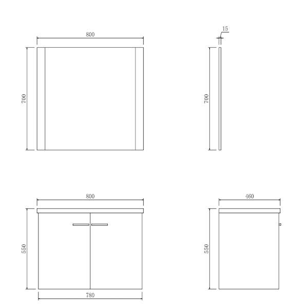 Badkamemeubel Alva 80 cm -  onderkast/wastafel/spiegel