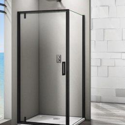 Douchecabine Iduna Vierkant Draaideur 90x90x200cm Helder Glas Mat Zwart