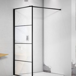 Douchewand Mila 100x200cm Helder Glas Mat Zwart Raster