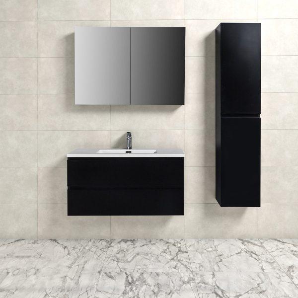 Badkamermeubel Tieme in mat zwart 100x50x48cm met witte wastafel