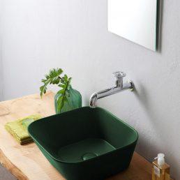 Mees Design Opbouw Waskom Vierkant Mat Groen