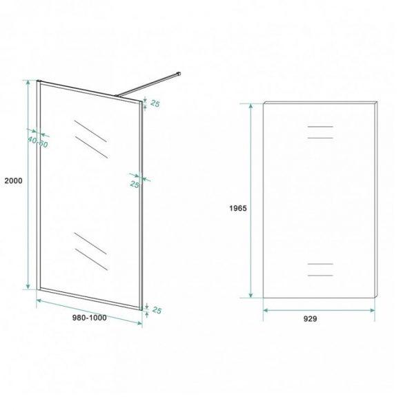 Inloopdouche Olivia 100x200cm Helder Glas Mat Zwart Raamwerk