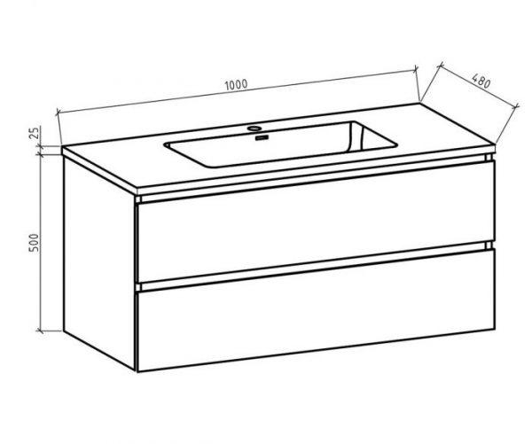 Badkamermeubel Tieme in hoogglans wit 100x50x48cm met zwarte wastafel