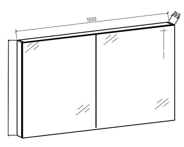 Spiegelkast Tieme in mat zwart 100x70x16cm