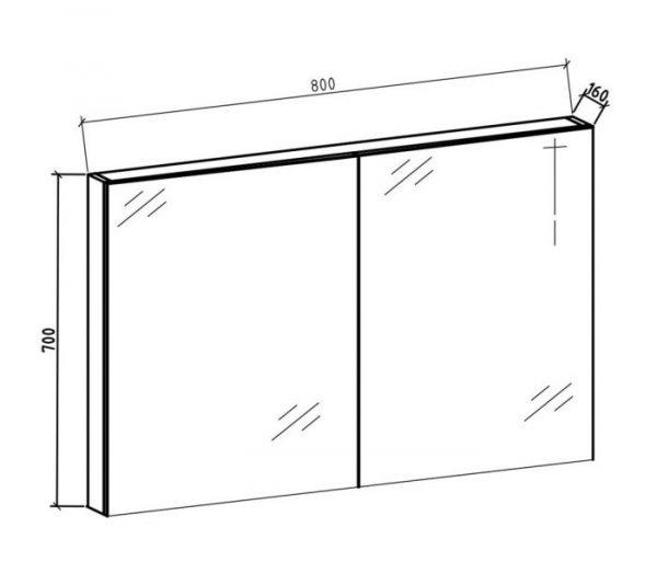 Spiegelkast Tieme in mat zwart 80x70x16cm