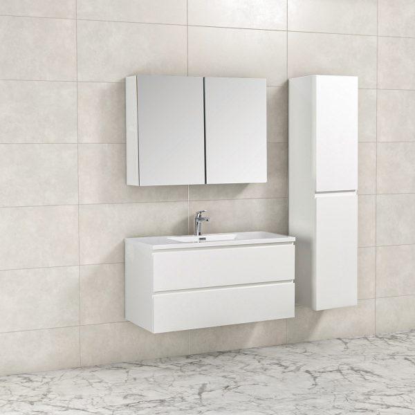 Badkamermeubel Tieme in hoogglans wit 100x50x48cm met witte wastafel