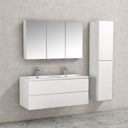 Badkamermeubel Tieme in hoogglans wit 120x50x48cm met witte wastafel