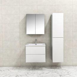Badkamermeubel Tieme in hoogglans wit 60x50x48cm met witte wastafel