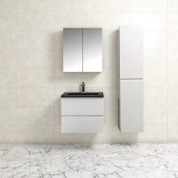 Badkamermeubel Tieme in hoogglans wit 60x50x48cm met zwarte wastafel