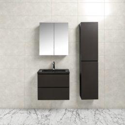 Badkamermeubel Tieme in mat grijs 60x50x48cm met zwarte wastafel