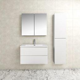 Badkamermeubel Tieme in hoogglans wit 80x50x48cm met witte wastafel