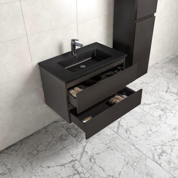 Badkamermeubel Tieme in mat grijs 80x50x48cm met zwarte wastafel