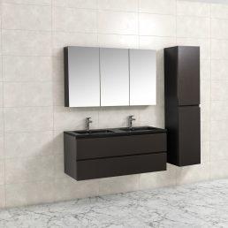 Badkamermeubel Tieme in mat grijs 120x50x48cm met zwarte wastafel
