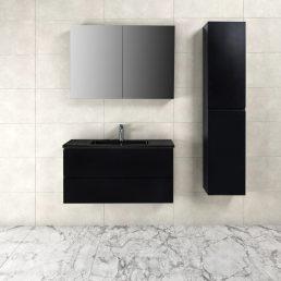 Badkamermeubel Tieme in mat zwart 100x50x48cm met zwarte wastafel