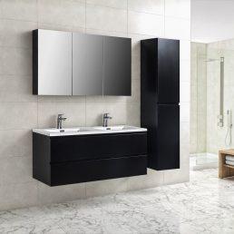 Badkamermeubel Tieme in mat zwart 120x50x48cm met witte wastafel