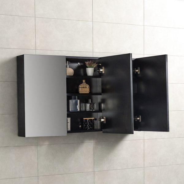 Spiegelkast Tieme in mat zwart 120x70x16cm